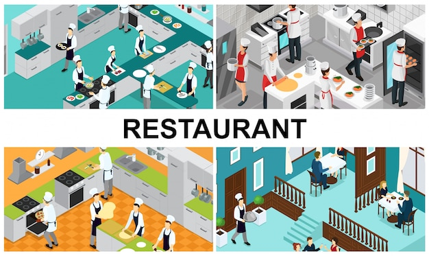 Isometric restaurant cooking composition with chefs assistants preparing different dishes interior elements utensils waiter visitors eating at tables in hall Free Vector