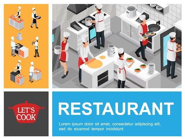 ウェイターシェフとアシスタントがキッチンで野菜のスープオムレツサービング野菜を準備する等尺性レストラン調理プロセス構成 無料ベクター