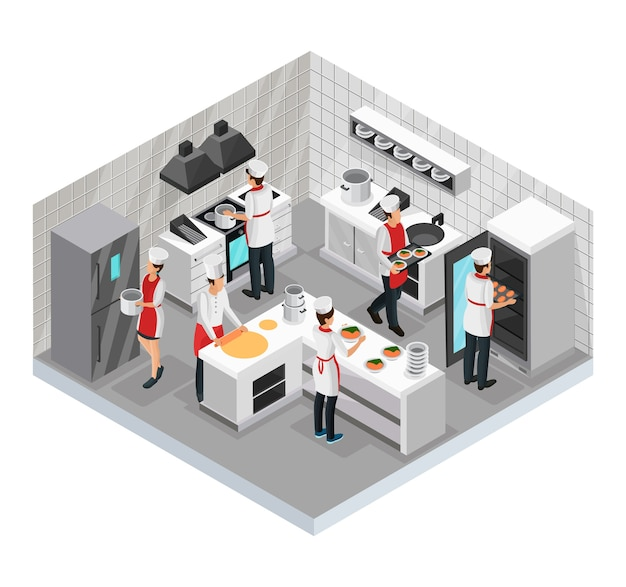 Isometric restaurant cooking room concept with cooks preparing and serving various dishes isolated Free Vector