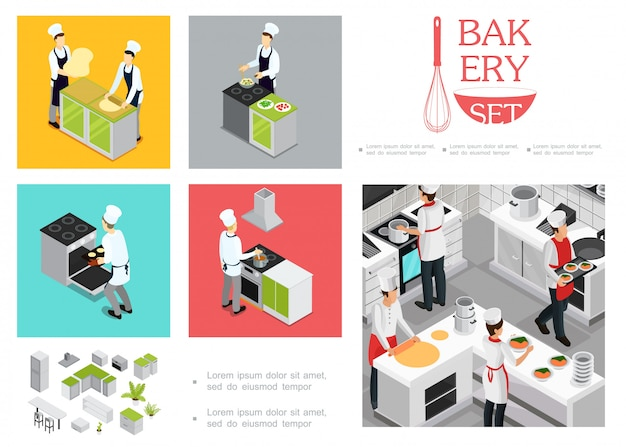 Изометрические шаблон приготовления пищи ресторана с поварами в форме готовит различные блюда кухонные элементы интерьера посуды Бесплатные векторы