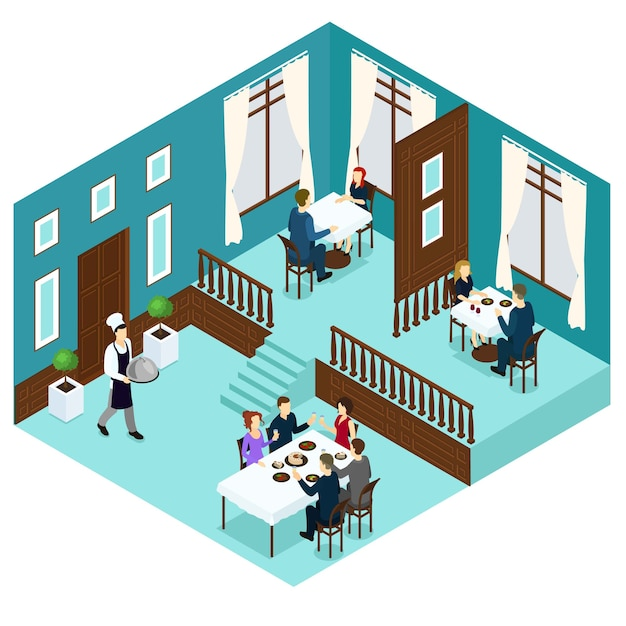 Isometric restaurant dining room Free Vector