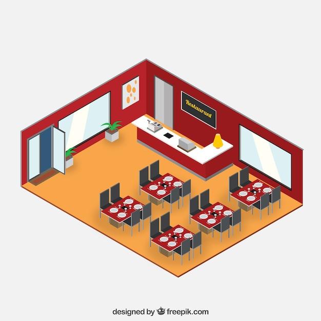 Isometric restaurant interior illustration vector free