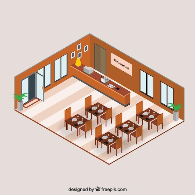 3d Floor Plan Isometric: Isometric Restaurant Interior Vector