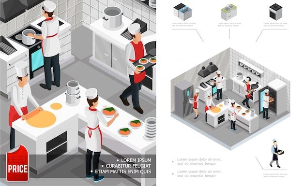 Изометрическая ресторанная кухонная интерьерная композиция с поварами, готовящими посуду, мебелью, плитой, холодильником и посудой. Бесплатные векторы