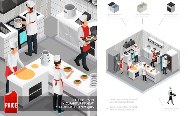 Isometric restaurant kitchen interior composition with chefs cooking dishes furniture stove fridge and utensil Free Vector