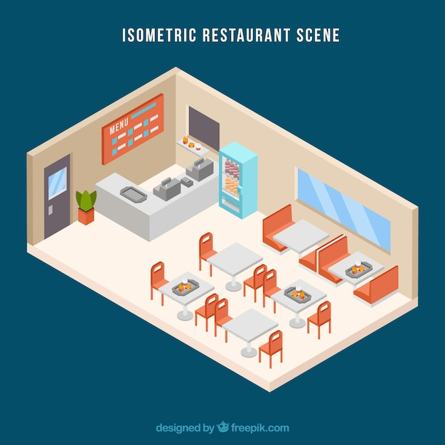 Isometric restaurant scene with flat design