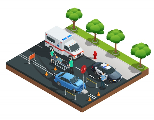 Isometric road accident composition with car bumped into traffic sign and injured driver on emergenc Free Vector