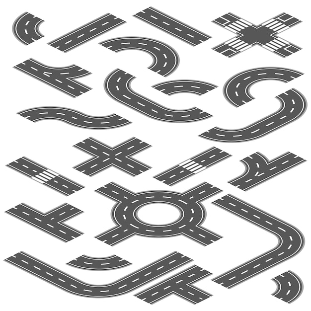 Isometric road and highway vector elements for city map creation Premium Vector