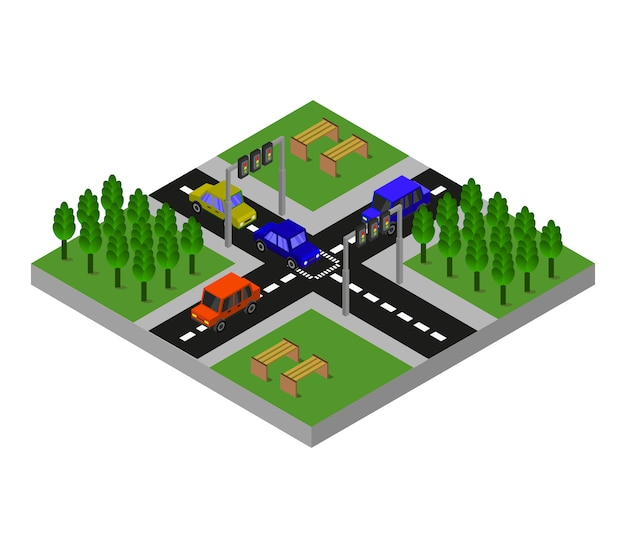Isometric road junction Free Vector