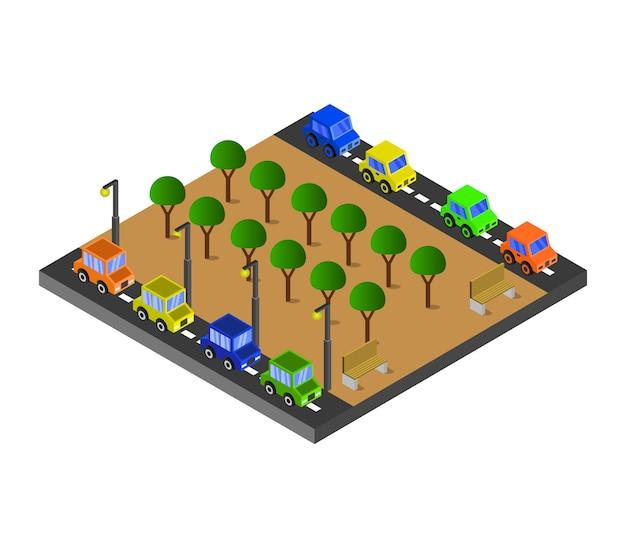 Изометрические дороги и парк Бесплатные векторы