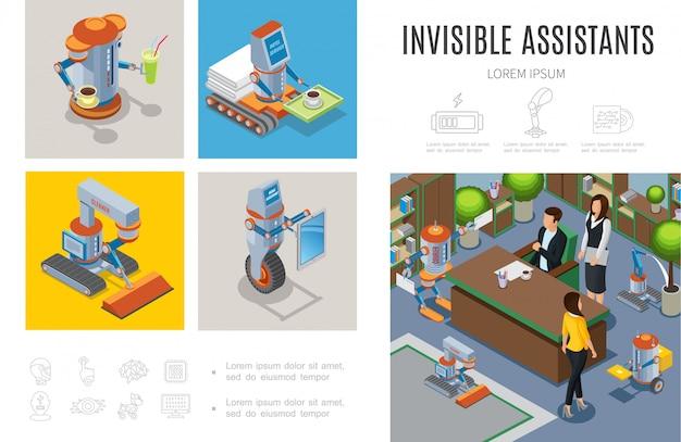 等尺性ロボットアシスタントインフォグラフィックテンプレートロボットバークリーナー宅配主婦インテリジェントマシンビジネスおよびホテルサービスの人々を支援 無料ベクター