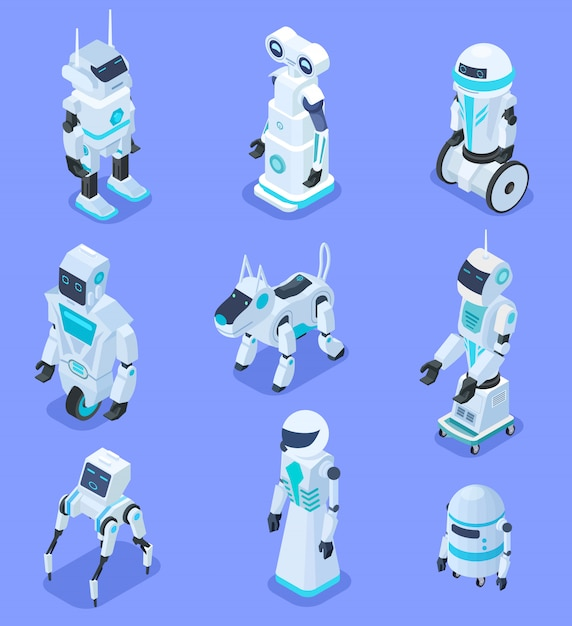Isometric robots. isometric robotic home assistant security robot pet. futuristic 3d robots with artificial intelligence. set Premium Vector