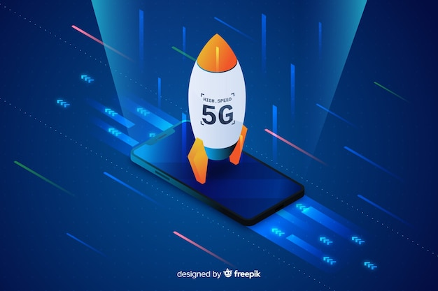Isometric rocket 5g concept background Free Vector