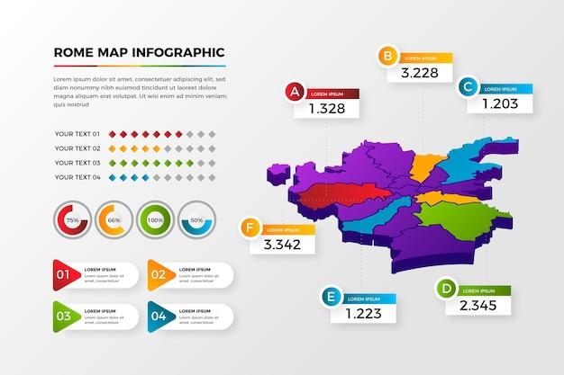 等尺性ローマ地図のインフォグラフィック 無料ベクター
