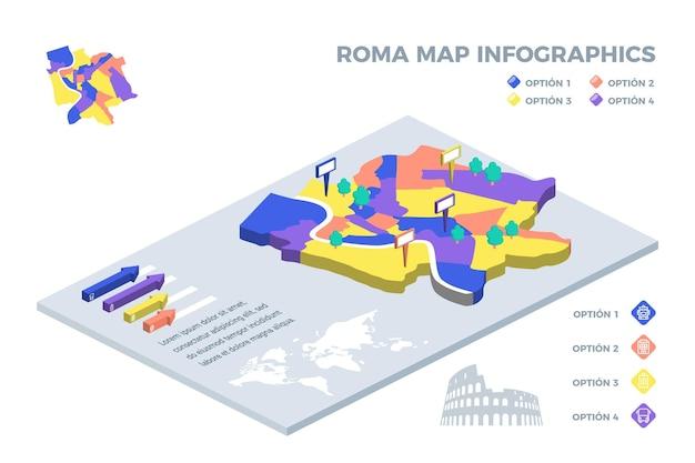 Mappa isometrica di roma infografica Vettore gratuito