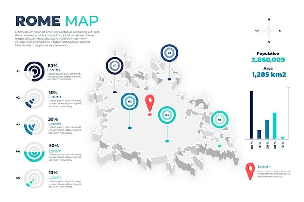 Изометрические римская карта инфографики Бесплатные векторы