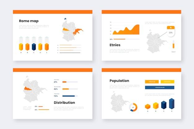 Statistiche isometriche della mappa di roma Vettore gratuito