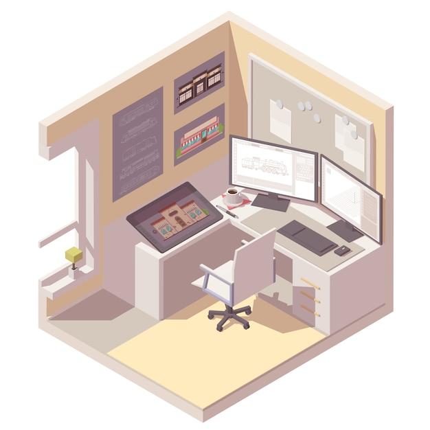 Изометрическое поперечное сечение комнаты со столом, компьютером, графическим планшетом и офисным стулом Premium векторы