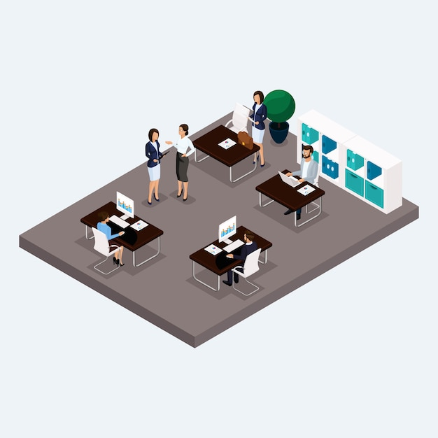 Isometric room multistoried office, office workers 3d business men and women Premium Vector