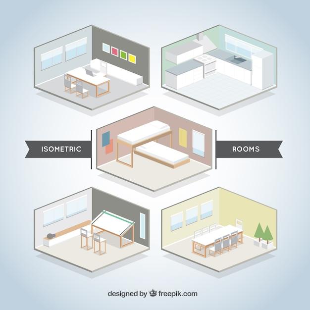 isometric room set vector free download