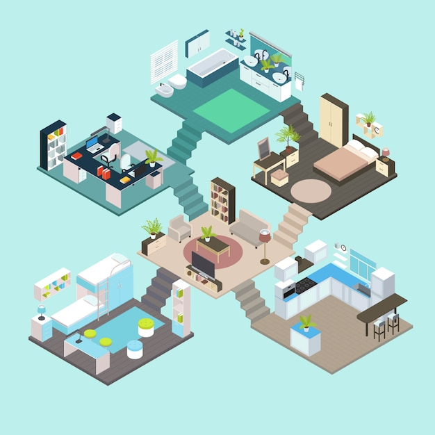 Isometric rooms composition Free Vector