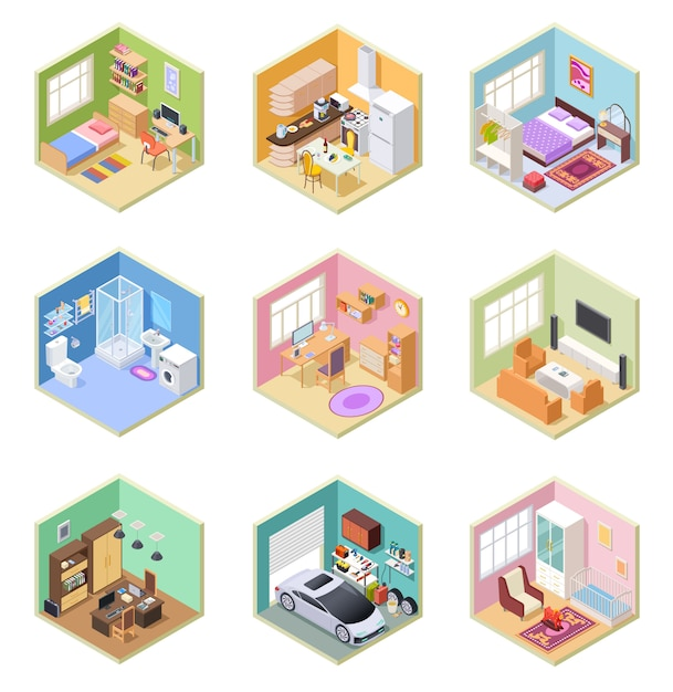 Isometric rooms. ed house, living room kitchen bathroom bedroom toilet apartment interior with furniture   set Premium Vector