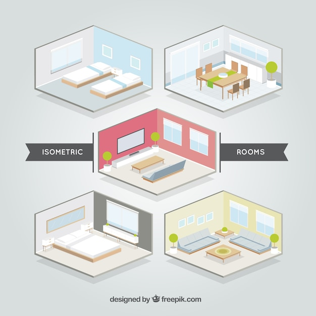 Isometric Rooms Set Vector | Free Download