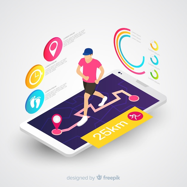 Isometric running mobile app infographic Free Vector