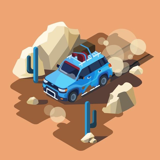 Isometric safari car riding through dusty\ desert cactus landscape.