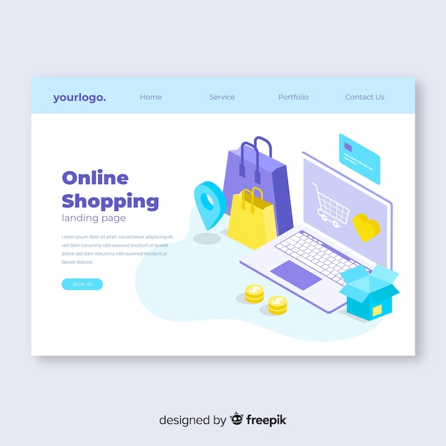 Isometric sale landing page template Free Vector
