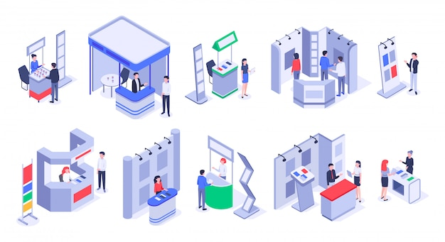 Isometric sale stands. expo demonstration stand, product exhibition trade stalls and events people   set Premium Vector