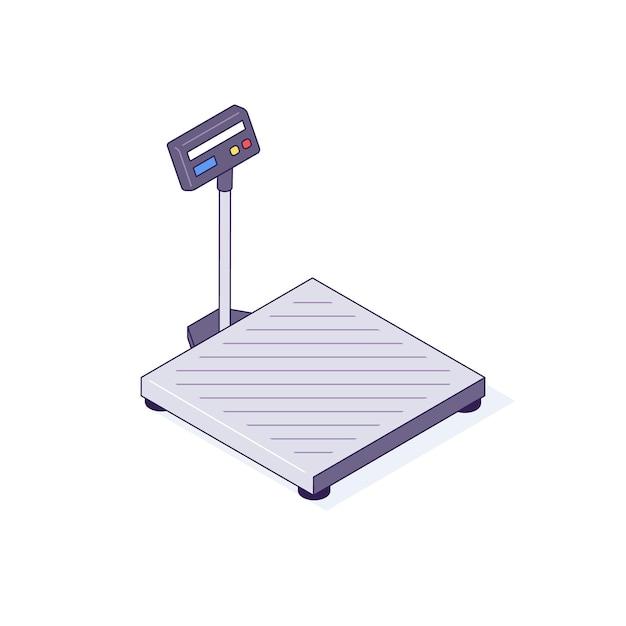 Изометрические весы для ящиков, поддонов, пакетов, товаров, иллюстрации Premium векторы