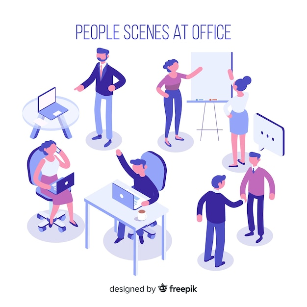 Isometric scenes at the office collection Free Vector