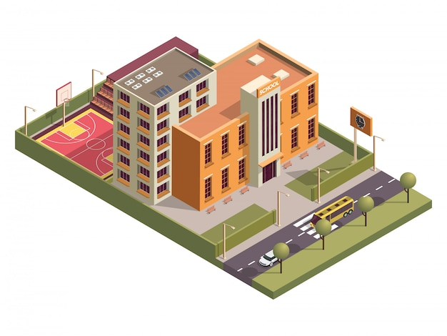 Isometric school building with basketball ground along vehicle street . Premium Vector