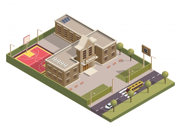 Isometric school building with clock board and basketball ground along vehicle street . Premium Vector