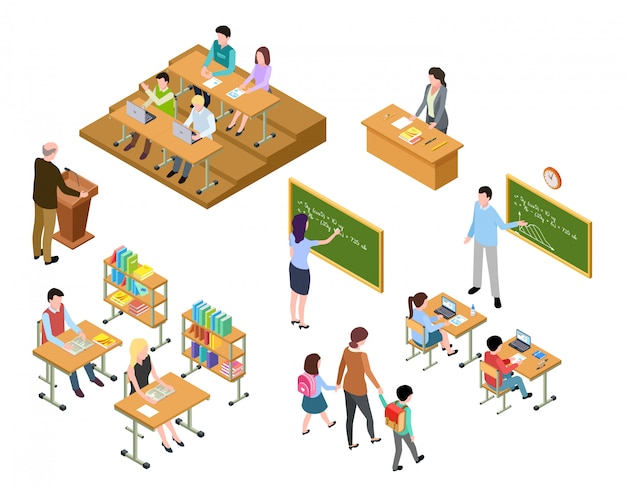 Isometric school. children and teacher in classroom and library. people in uniform and students. school education  3d Premium Vector
