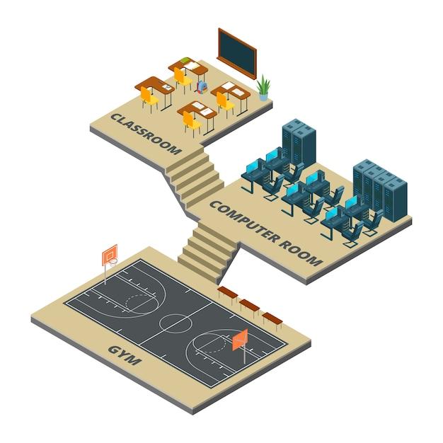 아이소 메트릭 학교 인테리어 컨셉입니다. 농구 코트 3d 일러스트와 함께 Crassroom, 컴퓨터 실 및 체육관 프리미엄 벡터