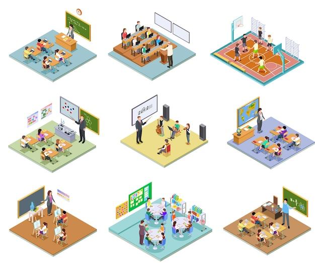 Isometric school rooms set Premium Vector