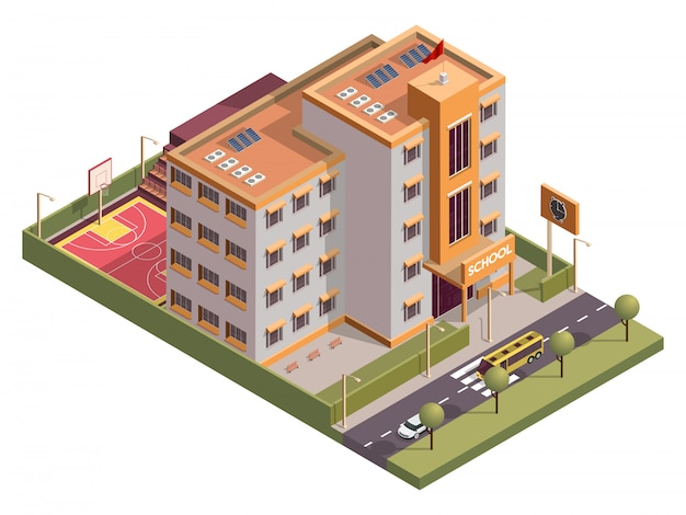 Isometric school skyline building with clock board and basketball ground along vehicle street . Premium Vector