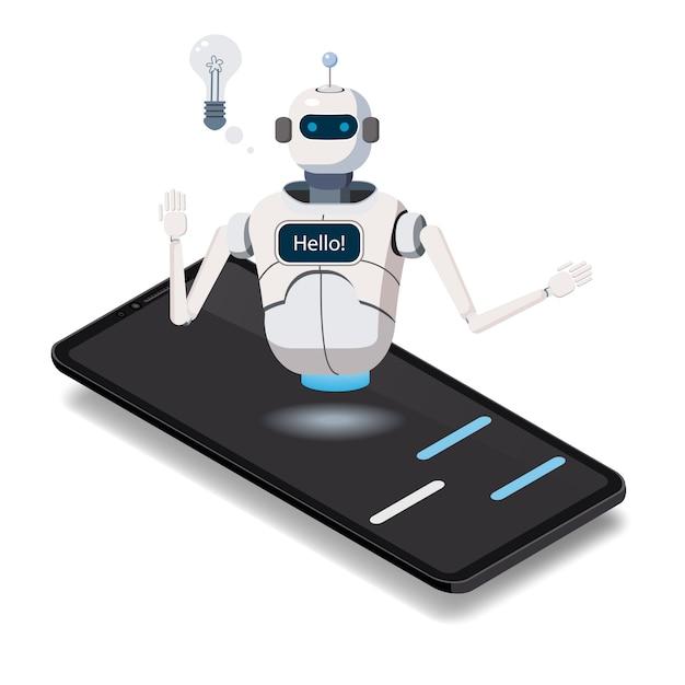 等尺性科学チャットボット、スマートフォンのコンセプト。人工知能 Premiumベクター