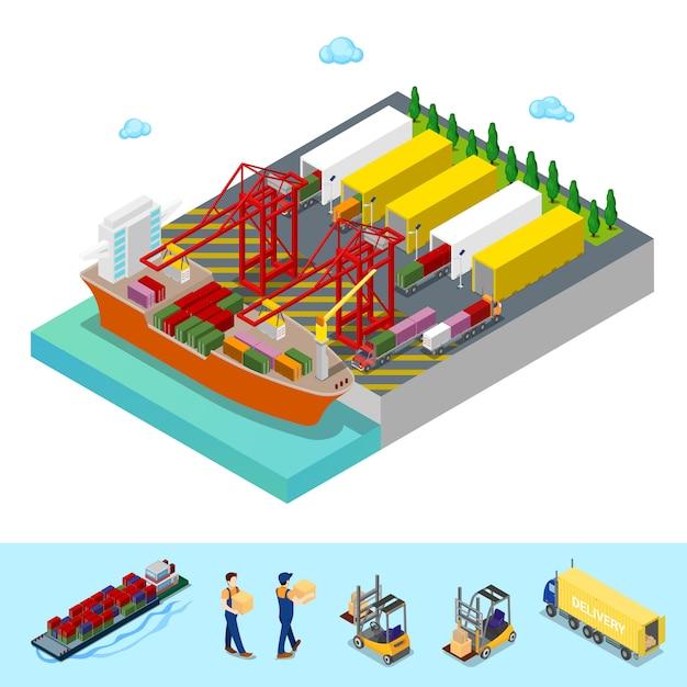 Изометрические морской грузовой порт с грузовой контейнеровоз и грузовых автомобилей. плоская 3d иллюстрация Premium векторы