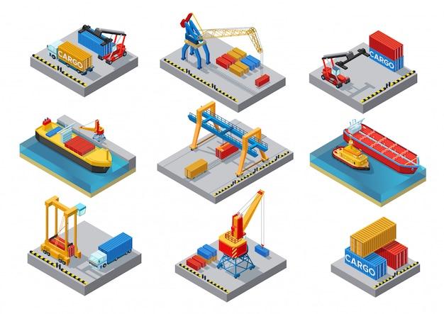 Набор элементов изометрические морской порт Premium векторы