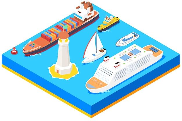 Набор изометрических морских кораблей. маяк и буй, океанская лодка, транспорт и транспорт Бесплатные векторы