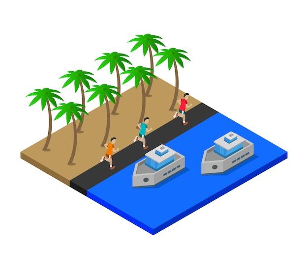 Изометрическое море с кораблями Бесплатные векторы
