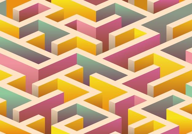 Isometric seamless Maze pattern. Premium Vector
