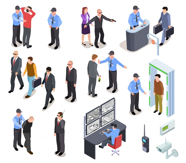 Isometric security system set Premium Vector