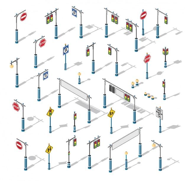 The isometric semaphore streetlight set Premium Vector