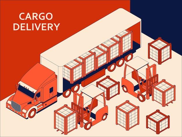 商業貨物を輸送する赤いタクシーを備えた等尺性セミトラック。上げるためのフォークリフト Premiumベクター