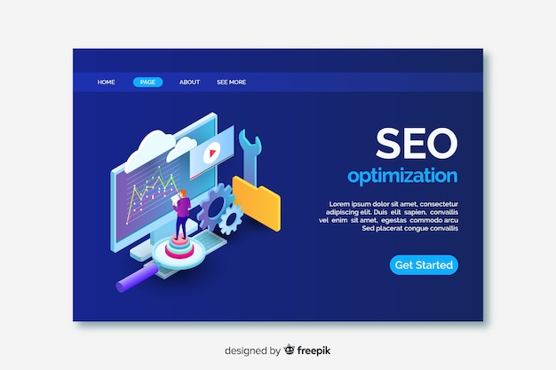 Isometric seo landing page template Free Vector