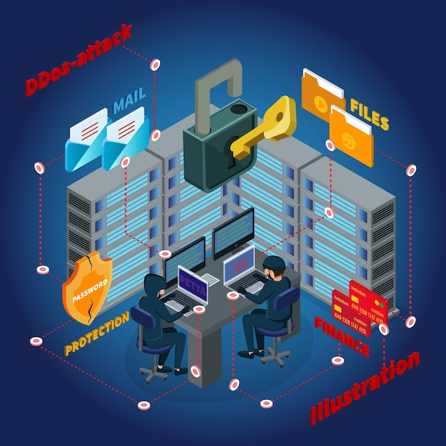 Isometric server ddos attack template Free Vector